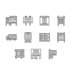 City advertising black line icons set vector image