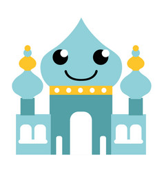 Colorful smile taj mahal kawaii cartoon vector