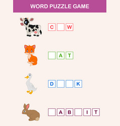 Complete the words children educational game vector