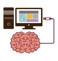 Computer desktop and usb connected to brain vector