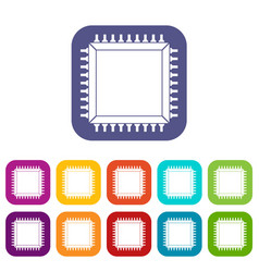 Computer microchip icons set flat vector