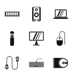 Computer repair icons set simple style vector