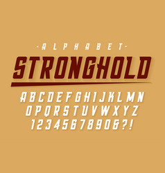 condensed strong display font design alphabet vector image