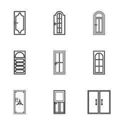 Door icons set outline style vector