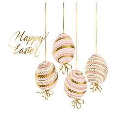 elegant gold and pastel color easter eggs vector image