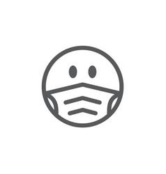 Emoji smile face in a medical mask vector