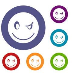 eyewink emoticons set vector image vector image