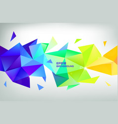 Faceted 3d crystal colorful shape banner vector