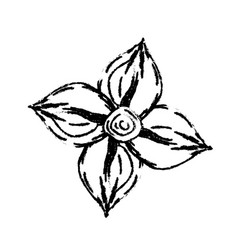 Figure beauty flower with petals to decorative vector