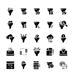 filter data icon set in flat style vector image