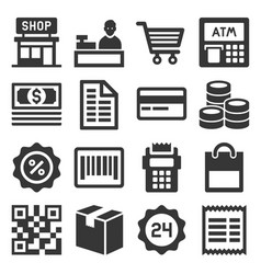 finance and shopping icons set vector image