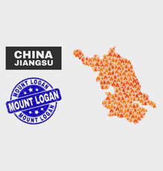 fire mosaic jiangsu province map and grunge mount vector image