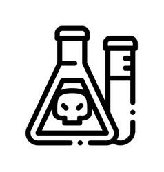 Flask with chemical liquid thin line icon vector