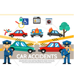 flat auto accident concept vector image