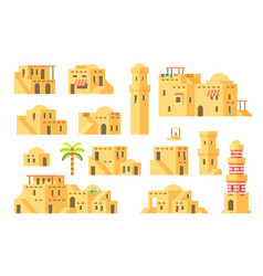 Flat design arab mud houses vector