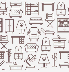 furniture seamless pattern with thin line icons vector image