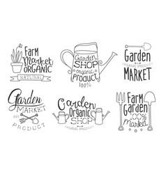 garden shop organic product hand drawn badges set vector image