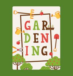 Gardening typographic poster vector