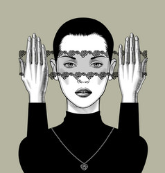 Girl full face with a decorative veil in front vector