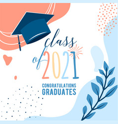 Graduate 2021 background greeting card vector