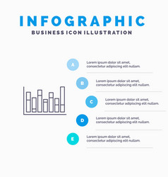 graph line up down line icon with 5 steps vector image