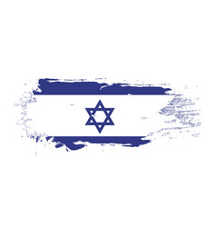 grunge brush stroke with israel national flag vector image