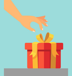 hand wants to open the gift vector image
