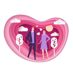 happy couple on a date - paper cut vector image
