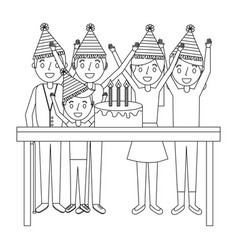 happy family with birthday cake celebration vector image
