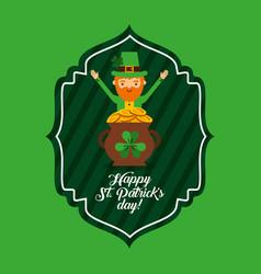 happy st patricks day green label leprechaun and vector image