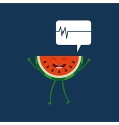 Healthy fruit watermelon heartrate icon vector