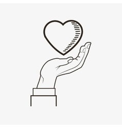 Heart and hand line drawing image vector