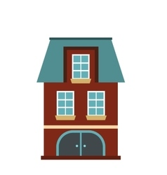 House with a mansard and garage icon vector