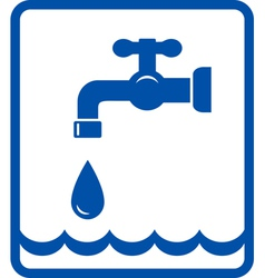 Icon with tap and water wave vector