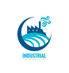 industrial factory building - logo template vector image