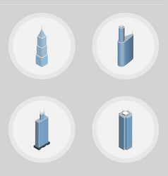 Isometric construction set of skyscraper business vector