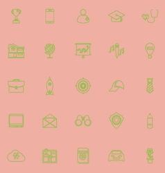 Job description line icons green color vector