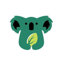 Koala leaf negative space logo icon vector