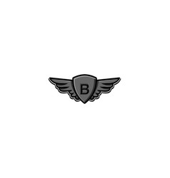 Letter b initial logo wing and badge shield vector