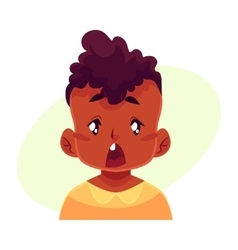 Little boy face surprised facial expression vector