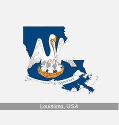 louisiana usa map flag vector image