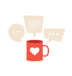 Lovely conversations about love a red cup with a vector