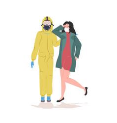 Man in hazmat suit woman wearing mask to prevent vector