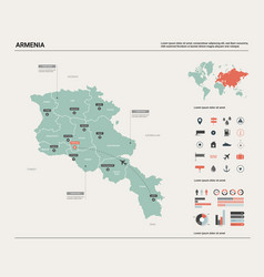map armenia high detailed country map vector image