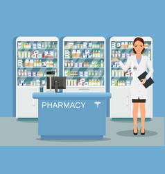 Modern interior pharmacy or drugstore vector