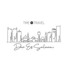 one single line drawing dar es salaam city vector image