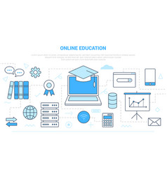 Online education concept with various icon line vector