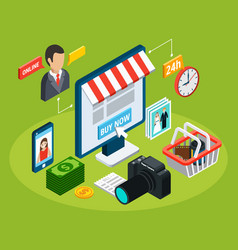 online electronic store composition vector image
