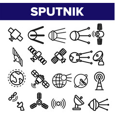 orbital sputnik linear thin icons set vector image