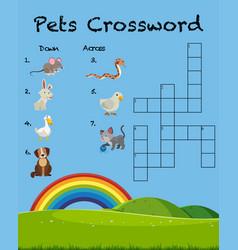 pet crossword game template vector image